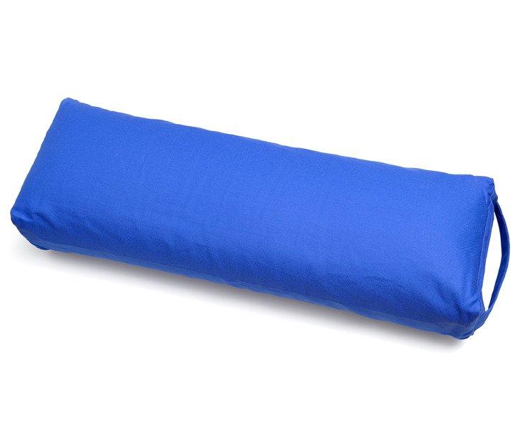 Bawełniany bolster do jogi niebieski