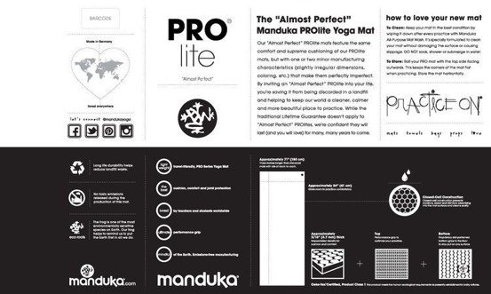 Mata do jogi Manduka PRO Lite 4.5mm 200cm  - Black- seria Almost Perfect