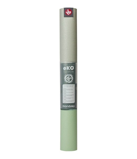 Podróżna mata do jogi Manduka eKO SuperLite Travel 1.5mm - Green Ash Stripe